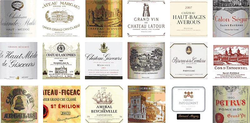 famous bordeaux wine labels 1 - Bordeaux en primeur 2019